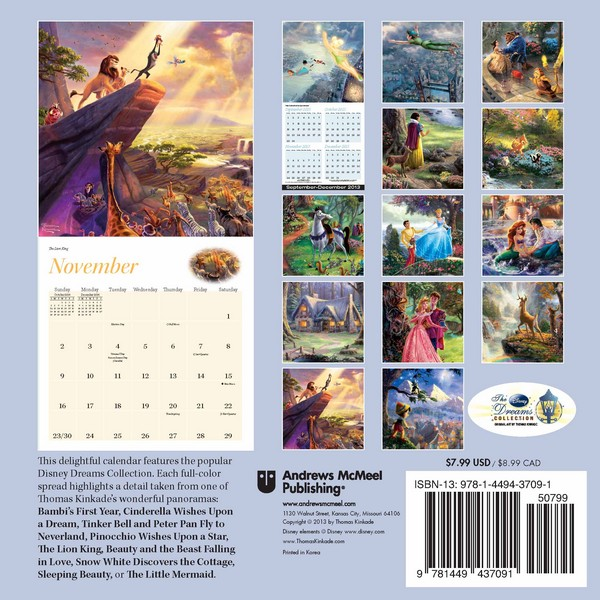 Thomas Kinkade: The Disney Dreams Collection Mini Wall Calendar 2014 back 9781449437091