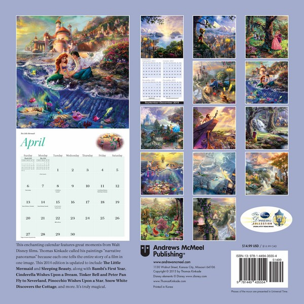 Thomas Kinkade: The Disney Dreams Collection Calendar 2014 back 9781449435554