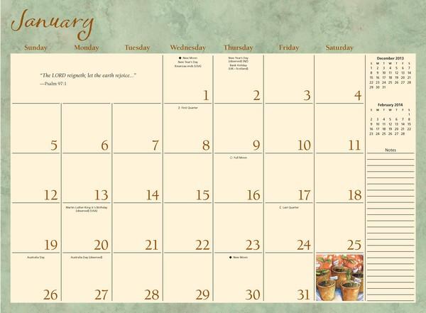Large Calendar Planner : The abundant blessings large monthly planner calendar