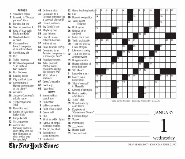 Soft image in new york times sunday crossword printable