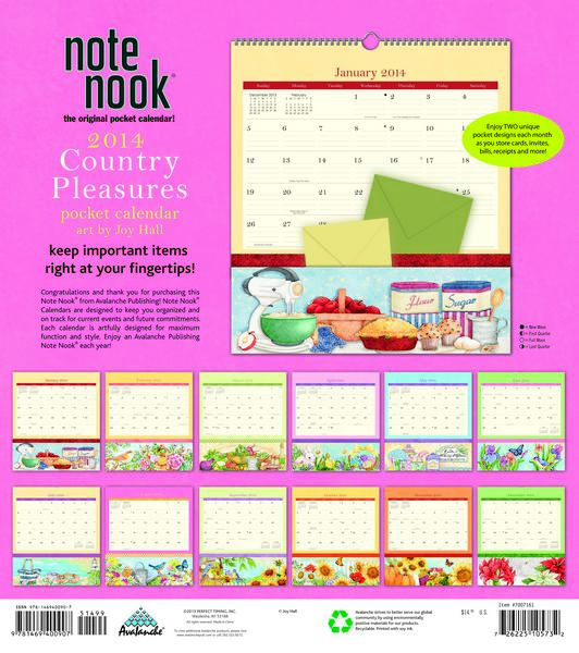 Country Pleasures Note Nook Calendar 2014 back at MegaCalendars.com