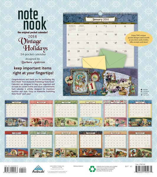 Vintage Holidays Note Nook Calendar 2014 back 9781469400563