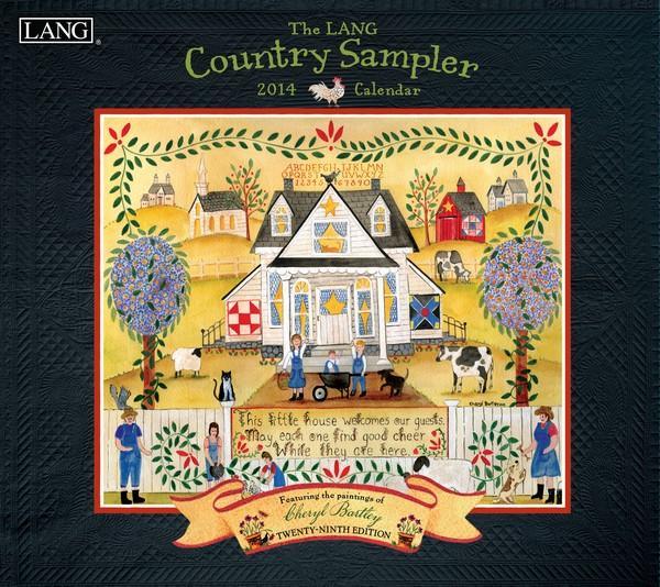 Lang Folk Art Calendar : Lang calendar country sampler prim farm barn rooster