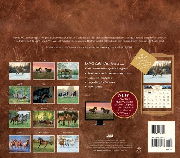 Lang: Horses In The Mist Calendar 2014  back 9780741246233