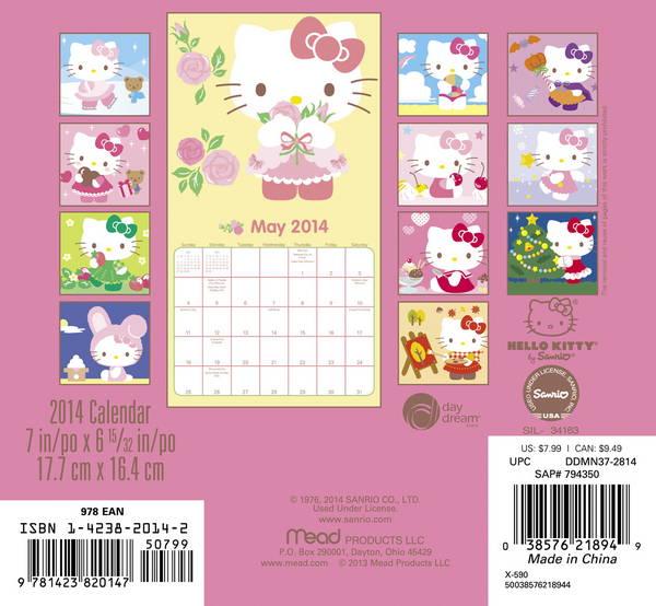 Hello Kitty Monthly Calendar : Hello kitty mini calendar ebay