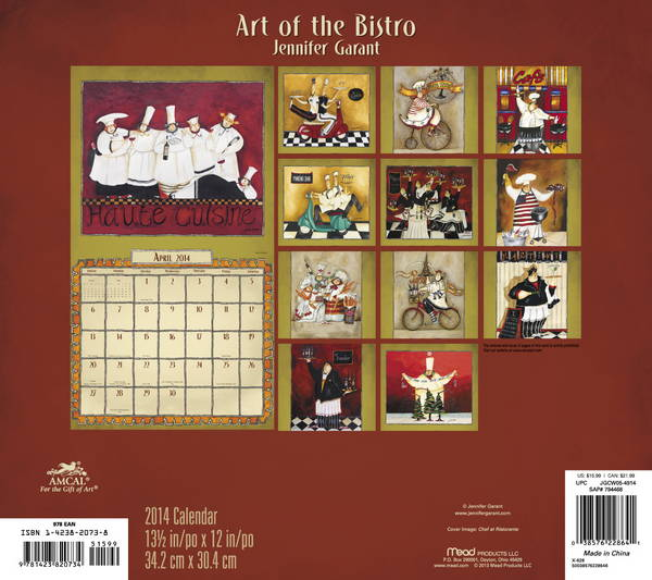 Art Of The Bistro Calendar 2014 back 9781423820734