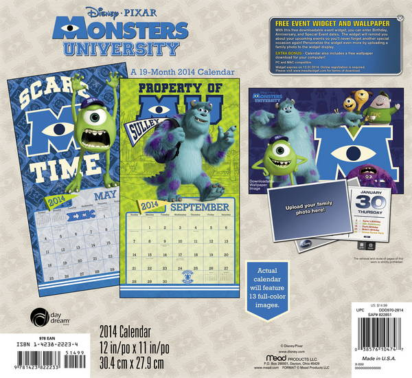 Monsters University Disney Pixar Calendar 2014 back 9781423822233