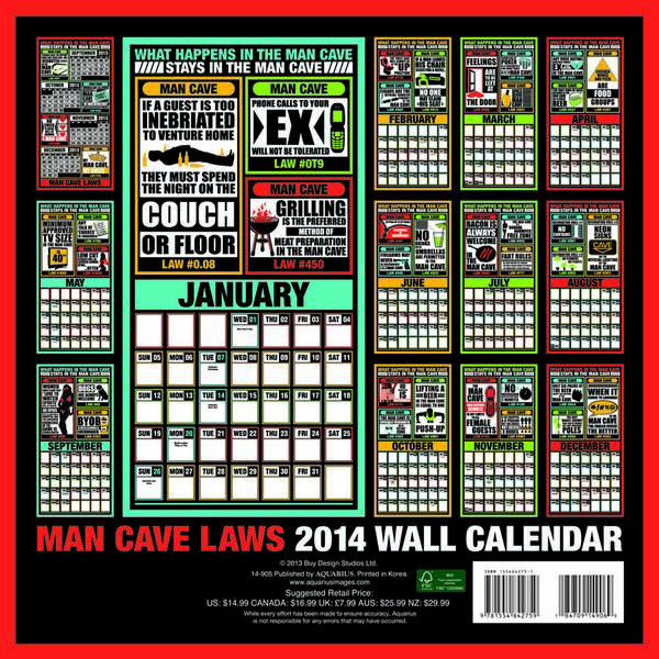 Man Cave Laws Calendar 2014 back 9781554842759