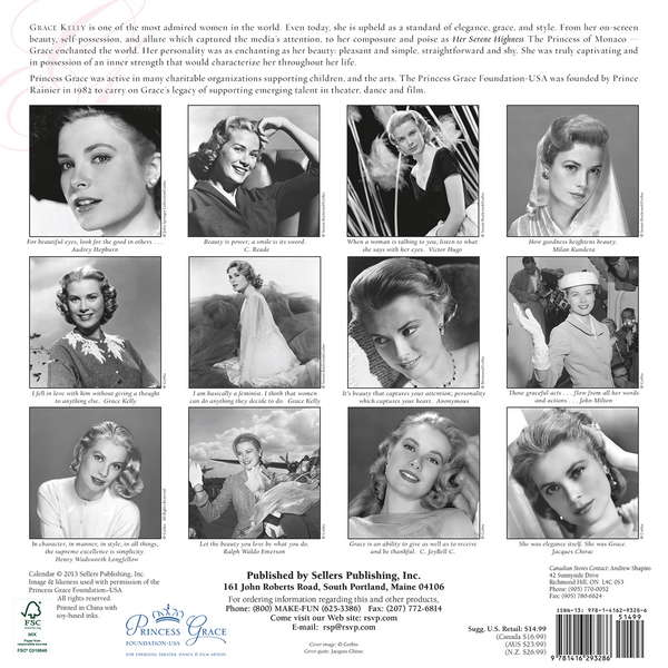 Grace Kelly Calendar 2014 back 9781416293286