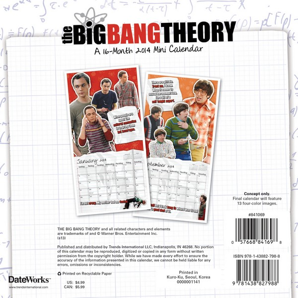 The Big Bang Theory Mini Calendar 2014 back 9781438827988