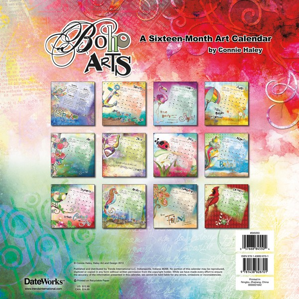 Boho Arts–Connie Haley Art Calendar 2014 back 9781438828701