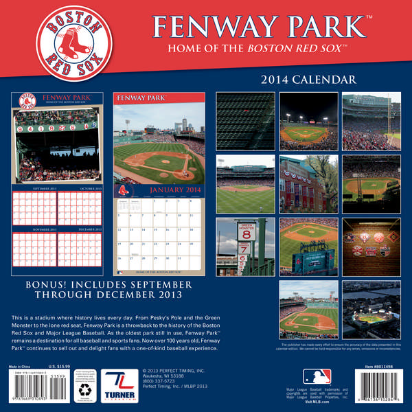 BOSTON RED SOX FENWAY PARK Wall Calendar 2014 back 9781469310893