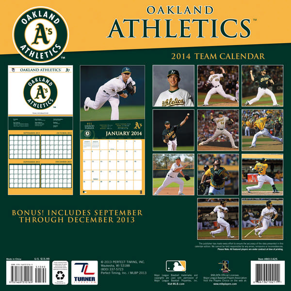 OAKLAND ATHLETICS Wall Calendar 2014 back 9781469310169